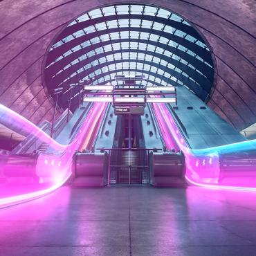 Train station escalator